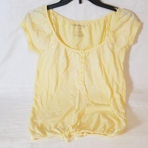 Aeropostale Soft Yellow Tie Bottom Blouse